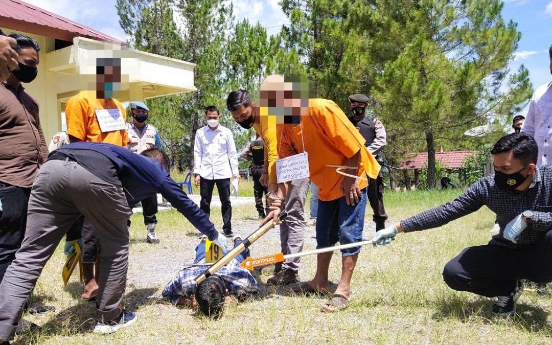 Kasus Pembunuhan di Tembolon: Satreskrim Polres Bener Meriah Gelar Rekonstruksi
