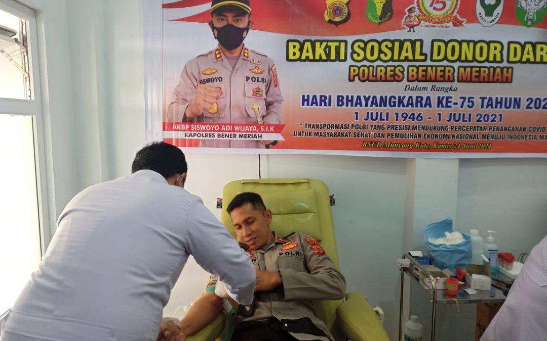 Polres Bener Meriah Memperingati Hari Bhayangkara ke-75: Gelar Bakti Sosial Donor Darah