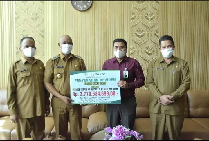 Pemerintah Kabupaten Bener Meriah Terima Deviden dari Bank Aceh Syariah