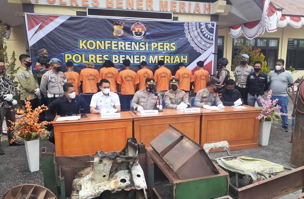 Satreskrim Polres Bener Meriah Menahan Delapan Pelaku Pencurian di Dua Tempat Terpisah