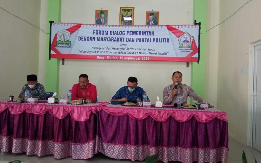 Bakesbangpol Aceh Gelar Forum Dialog Pemerintah dengan Masyarakat dan Parpol di Bener Meriah: Tangkal Berita Fake dan Hoax